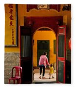 Chinese Temple In Ho Chi Minh Vietnam Fleece Blanket