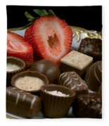 Chocolate On Plate With Strawberry Fleece Blanket