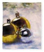 Christmas Balls Artistic Vintage Painting Fleece Blanket