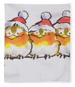 Christmas Robins  Fleece Blanket