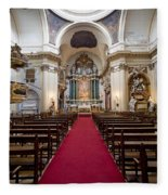 Church Of Santa Barbara Interior In Madrid Fleece Blanket