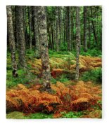 Cinnamon Ferns And Red Spruce Trees Fleece Blanket