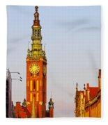 City Hall In Gdansk Fleece Blanket