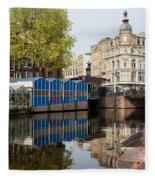City Of Amsterdam Cityscape Fleece Blanket