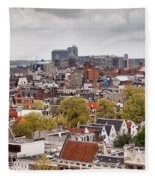 City Of Amsterdam From Above Fleece Blanket