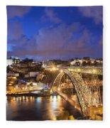 City Of Porto In Portugal By Night Fleece Blanket
