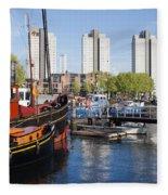 City Of Rotterdam Cityscape In Netherlands Fleece Blanket