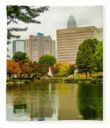 City Skyline In Fog And Rainy Weather During Autumn Season Fleece Blanket