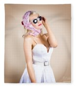 Classical Pinup Girl Posing In Retro Fashion Style Fleece Blanket