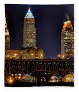 Cleveland Skyline At Night Fleece Blanket