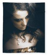 Close Up Portrait Of A Beautiful Vintage Bride Fleece Blanket
