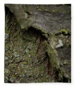 Closeup Of Bark Covered In Lichen Fleece Blanket