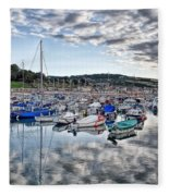 Cloudy Morning - Lyme Regis Harbour Fleece Blanket