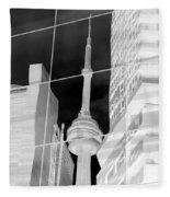 Cn Tower Reflected Fleece Blanket