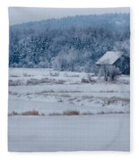 Cold Blue Snow Fleece Blanket
