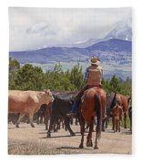 Colorado Cowboy Cattle Drive Fleece Blanket
