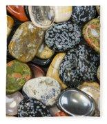 Colored Polished Rocks Fleece Blanket