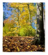 Colorful Fall Autumn Park Fleece Blanket