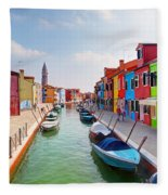 Colorful Houses And Canal On Burano Island Near Venice Italy Fleece Blanket