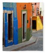 Colorful Street, Mexico Fleece Blanket