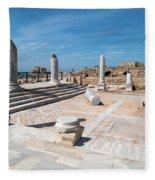 Columns In Archaeological Site Fleece Blanket