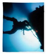 Commercial Diver At Work Fleece Blanket