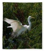 Common Egret Fleece Blanket