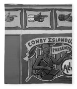 Coney Island Alive In Black And White Fleece Blanket