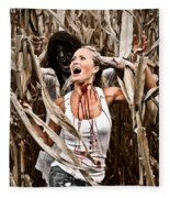 Corn Field Horror Fleece Blanket