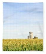 Corn Field With Silos Fleece Blanket