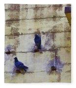 Couple Of Pigeons On A Wall Fleece Blanket