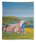 Cow Lying Down Fleece Blanket