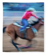 Cowgirl Rides Fast For Best Time Fleece Blanket