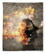 Crazy Businessman Running Engulfed In Fire. Late Fleece Blanket