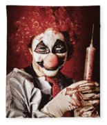 Crazy Medical Clown Holding Oversized Syringe Fleece Blanket
