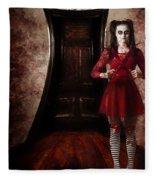 Creepy Woman With Bloody Scissors In Haunted House Fleece Blanket