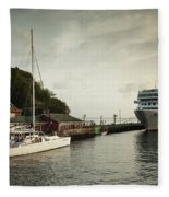Cruise Ship At Port, Kingstown, Saint Fleece Blanket