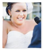 Crying And Laughing Bride Fleece Blanket