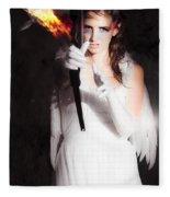Cupid Angel Of Romance Setting Hearts On Fire Fleece Blanket