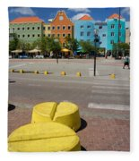Curacaos Colorful Architecture Fleece Blanket
