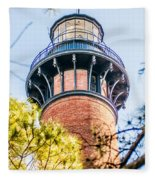 Currituck Beach Lighthouse On The Outer Banks Of North Carolina Fleece Blanket