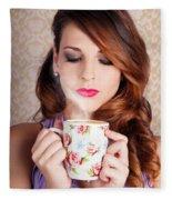 Cute Brunette Woman Drinking Hot Coffee Indoors Fleece Blanket
