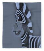 Cyan Zebra Fleece Blanket
