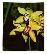 Dendrobium Orchid Fleece Blanket
