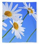 Daisy Flowers On Blue Background Fleece Blanket