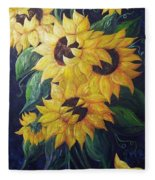 Dancing Sunflowers  Fleece Blanket