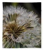 Dandelion With Water Drops Fleece Blanket