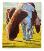 Dartmoor Ponies Painting Fleece Blanket