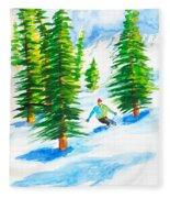 David Skiing The Trees  Fleece Blanket
