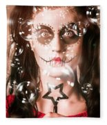 Day Of The Dead Girl Blowing Party Bubbles Fleece Blanket